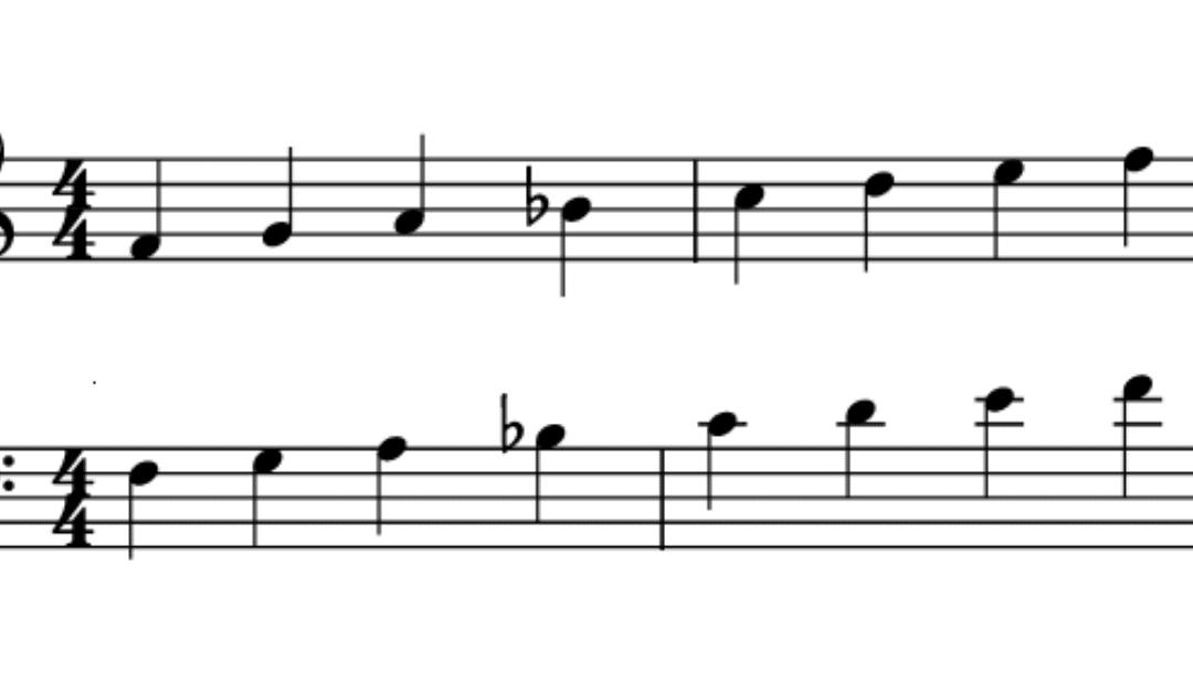 Escala mayor de Fa notation