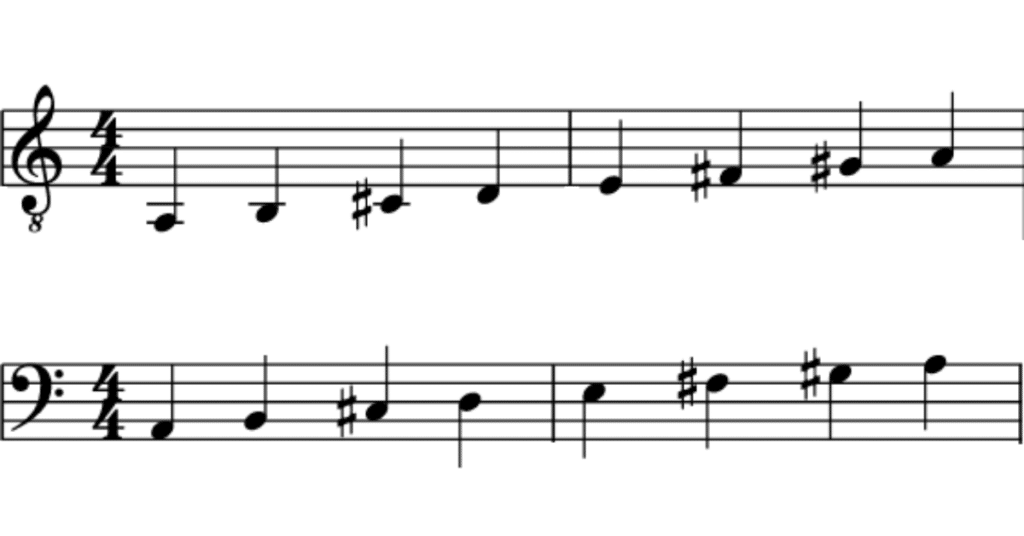 Musical notation for A major scale